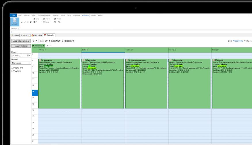 Idus kalender schemaläggning underhållssystem